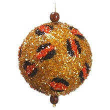 Bead Animal Print Ball Ornament Gold Black (Pack of 6)
